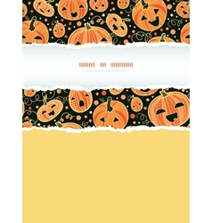 Halloween pumpkins vertical torn frame decor vector