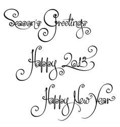 3 new year 2013 handwriting wishes vector