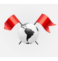 Earth Planet Icon with Red Flag vector image