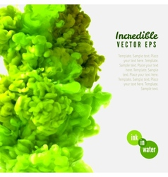 Incredible green ink in water vector
