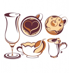 Coffee element set vector