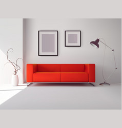Red sofa with frames and lamp vector