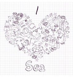 Sea card with heart vector
