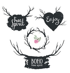 Set rustic logo elements hand drawn vintage design vector