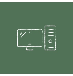 Cpu and monitor icon drawn in chalk vector
