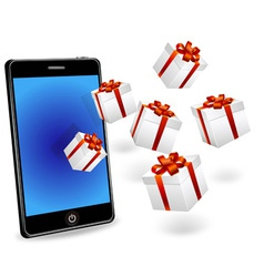 smart phone with white gift boxes vector image