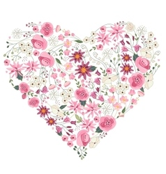 Summer flowers - heart with pink and red flowers vector