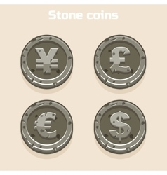 Main currencies symbols represented as shiny stone vector