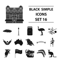 Australia set icons in black style big collection vector