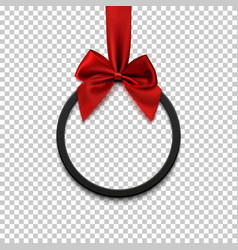 black round banner with red ribbon and bow vector image vector image