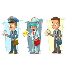 Cartoon postman with letter character set vector