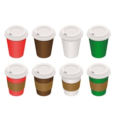 Coffee cups isometric vector