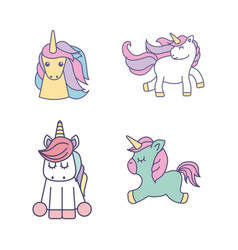 drawing cute set unicorns icon vector image