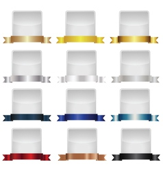 Empty label set with metallic ribbons vector image