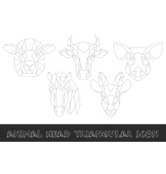 Farm animal head triangular icon set vector image