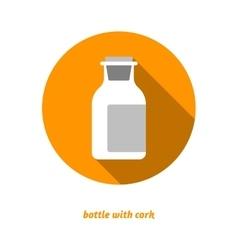 Flat medical bottle icon drugs symbol milk vector