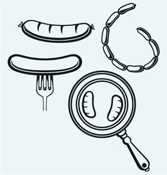 Grilled sausage on fork and on frying pan vector image vector image