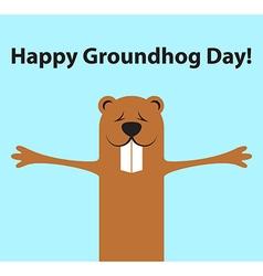 Groundhog day funny cartoon character of marmot vector