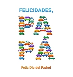 Happy fathers day spanish card cars and motobike vector