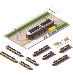 isometric tramways vector image
