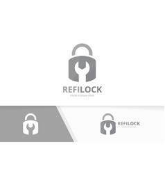 lock logo combination safe and repair vector image vector image