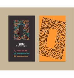 Number 0 logo business card vector