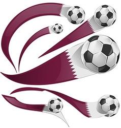 qatar flag set with soccer ball vector image