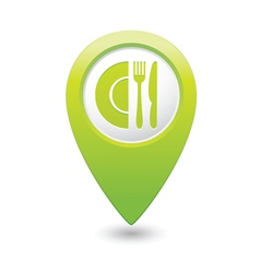 restaurant icon map pointer2 green vector image vector image