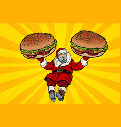 santa claus with two burgers fast food delivery vector image vector image