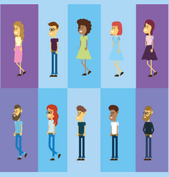 Set avatar people with hairstyle design vector
