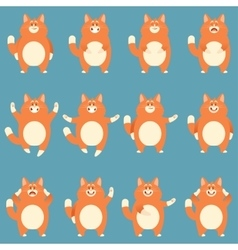 Set of flat red cat icons vector image vector image