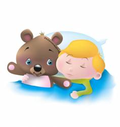 sleeping boy and his teddy vector image vector image