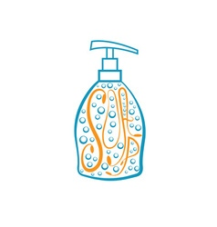 Soap dispenser with bubbles vector image