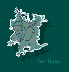 Sticker road and administrative map of vector