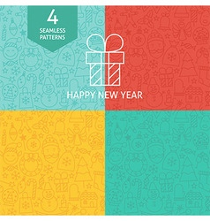Thin Line Happy New Year Holiday Patterns Set vector image vector image