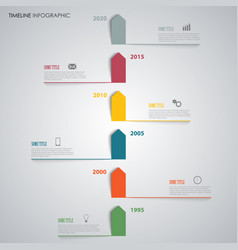 Time line info graphic with colored arrows above vector