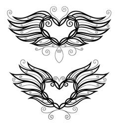 Two filigree hearts vector