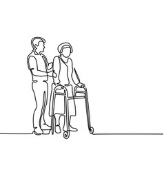 young man help old woman using a walking frame vector image