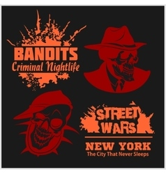 Set of gangser and bandits emblems labels badges vector
