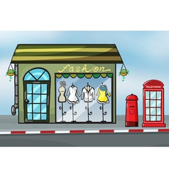 A fashion store and a callbox vector image
