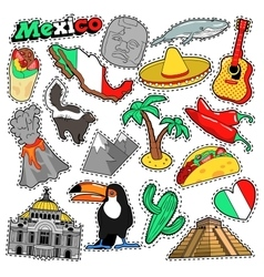Mexico travel scrapbook stickers patches badges vector