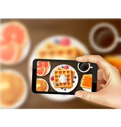Breakfast smartphone photo realistic top image vector