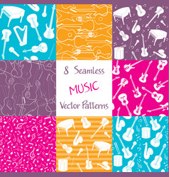 Collection of music seamless patterns vector