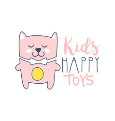 Kids happy toys logo colorful hand drawn vector