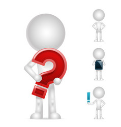 3d blank character question exclamation mark pc vector