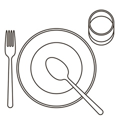 Place setting with plate spoon fork and glass vector