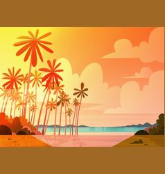 Sea shore beach on sunset beautiful seaside vector