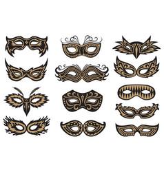 Carnival mask set vector