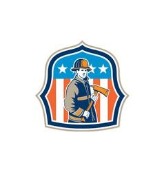 American fireman firefighter fire axe shield vector