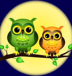 Owls on branch with full moon vector